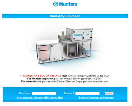 Screenshot from Munters Humidity Solutions