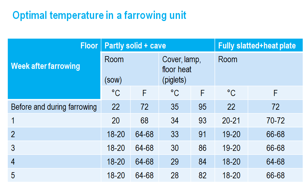 Optimal temperature in a farrowing unit
